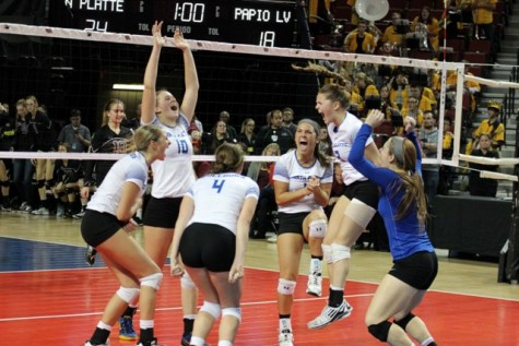North Platte High School girls celebrate their advancement in the state tournament.