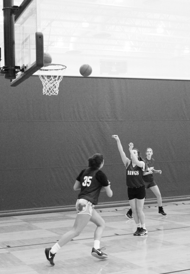 The Lady Dawgs practice their shooting skills.