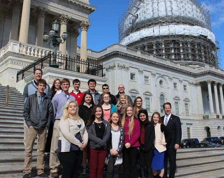 Adrian Smith, 3rd congressional district representative of Nebraska, posing with the students on a exclusive tour of the capital.