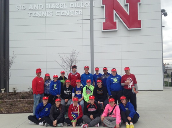 North Platte tennis players outside the new Sid and Hazel Dillon Tennis Complex.