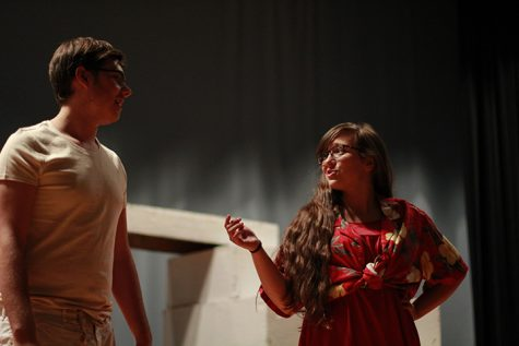 Senior Breanna Patterson as she plays her dominatrix personality, Ann Bowman in the 2016 fall play, Psycho Beach Party.
