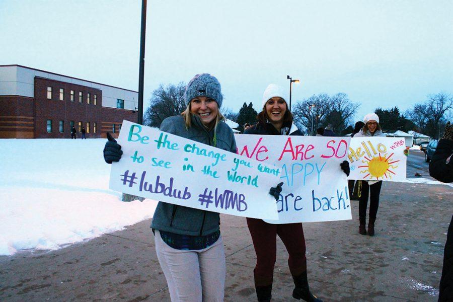 Teacher Annie Seamann, Leah Purdy, & Sarah Kalminski welcome students back to school.