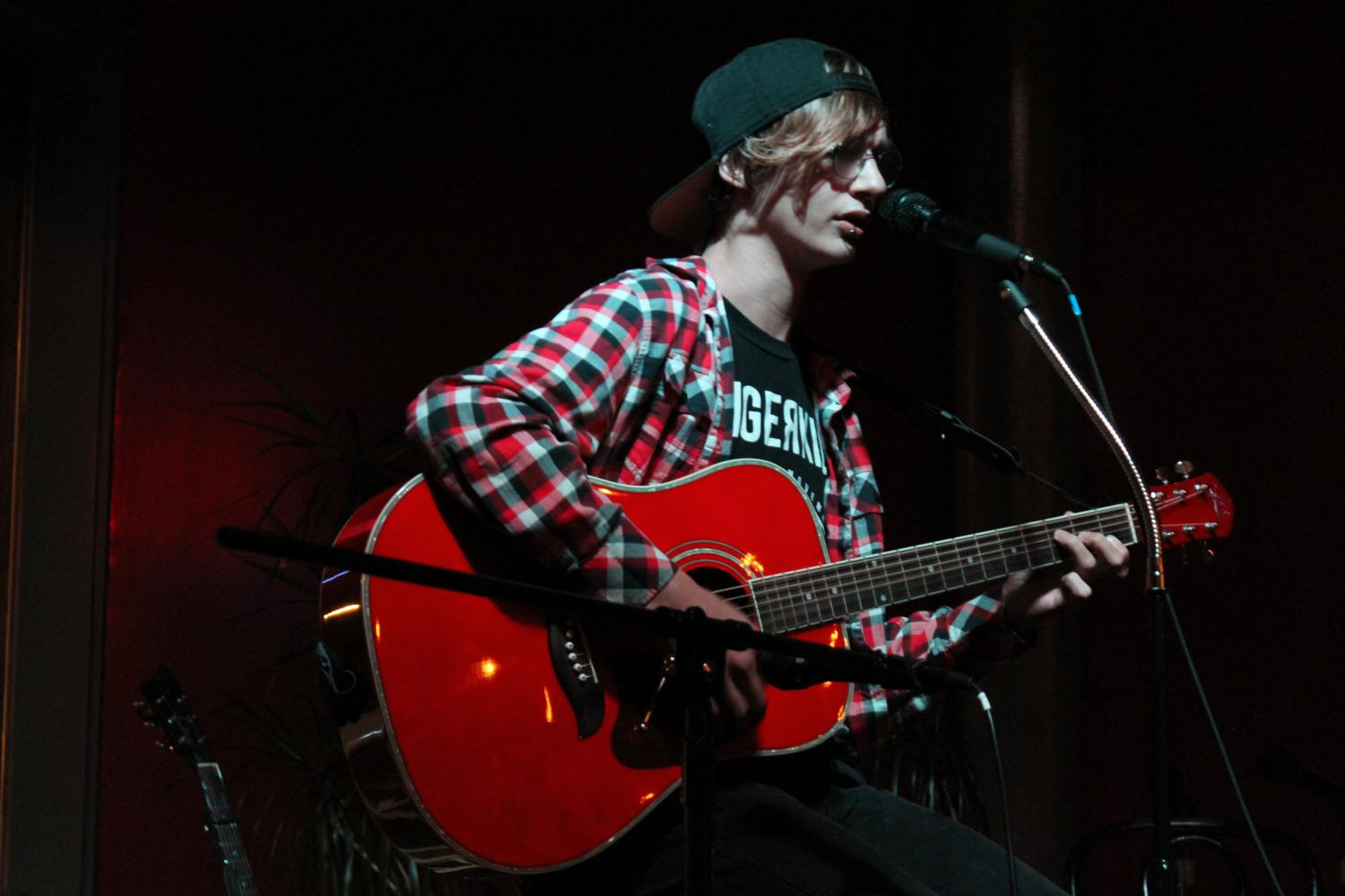 """Former North Platte High School student Koty DeCent is a regular at The Espresso Shoppe's open mic night. He usually performs covers of songs from alternative bands, but he also sings his own original songs sometimes. """"My motivation would be the audience. Just seeing their faces gets me pumped to perform,"""" said DeCent."""