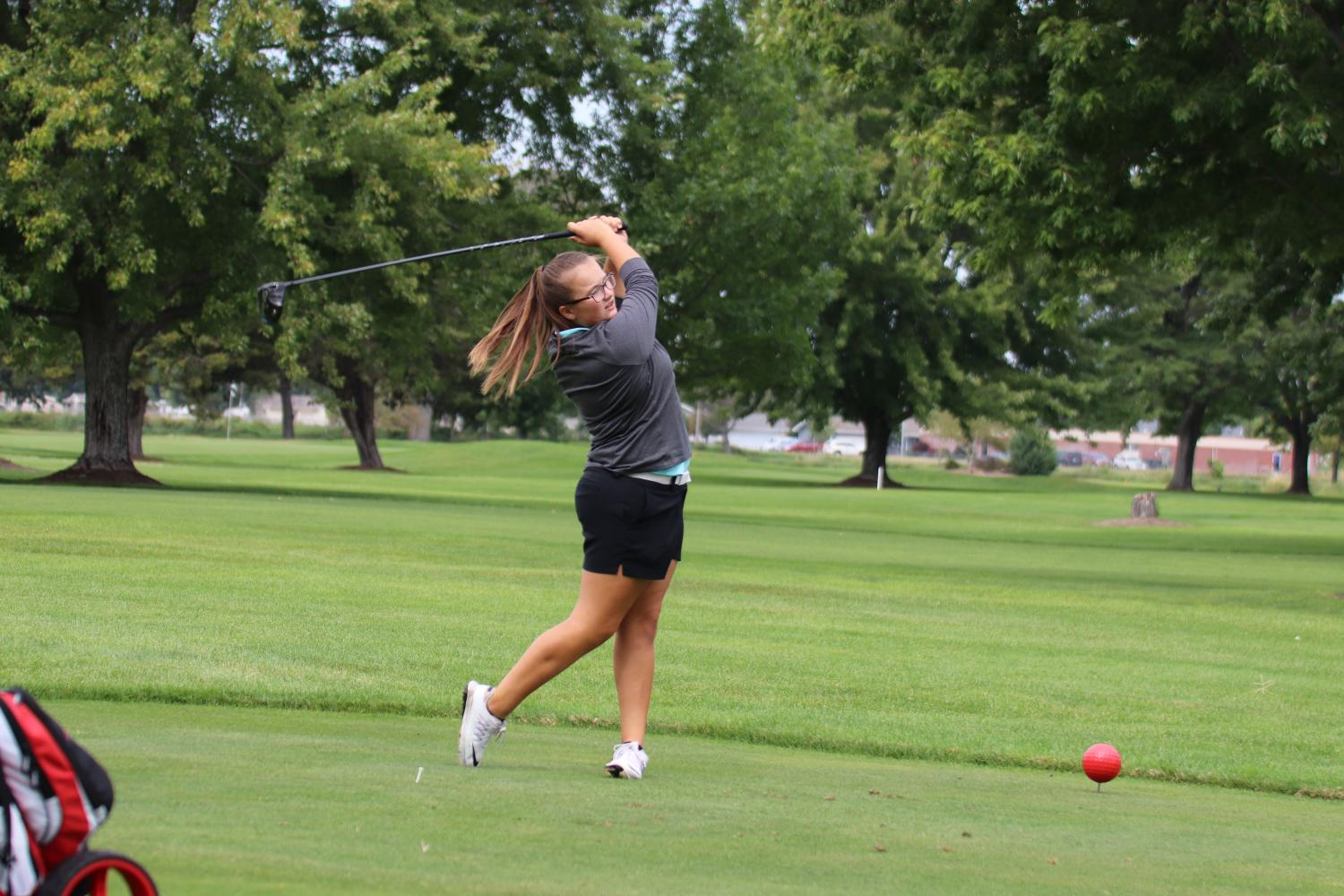 """Freshman Baylee Steele has been golfing competitively for around three years, but she began golfing in elementary school. """"I first picked up a club in second or third grade, but I didn't realize how much I liked it until sixth grade,"""" she said."""
