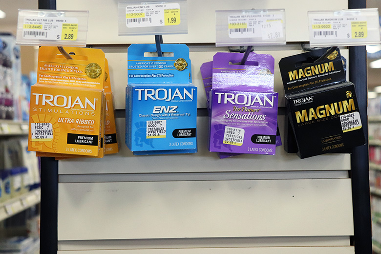 Products such as tampons, pads, condoms, pregnancy tests, etc. are easily accessible at any local drug store or super-market. Birth control should be prescribed by your physician.