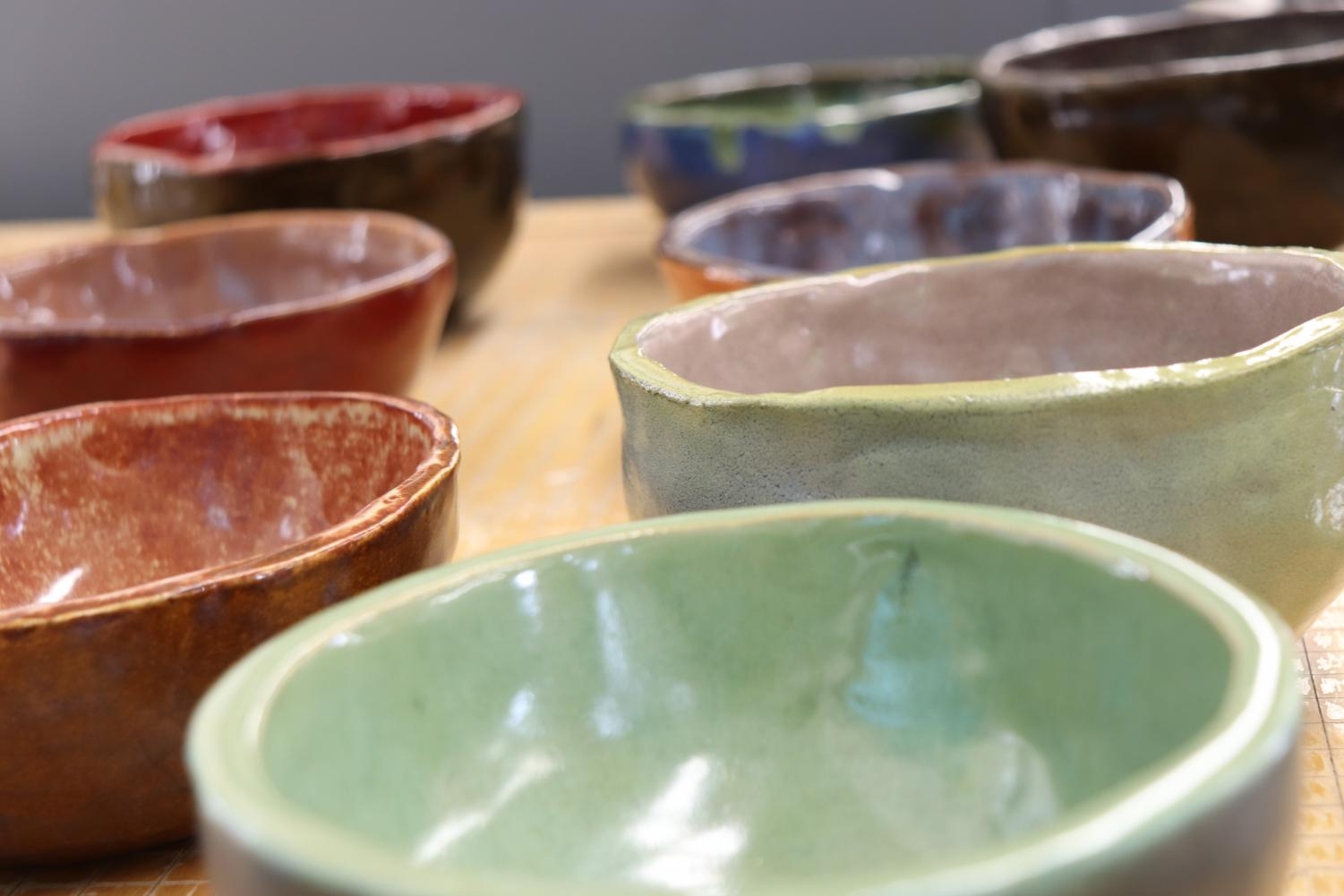 The Art Club made around ten bowls for the Connection's Empty Bowls Dinner.