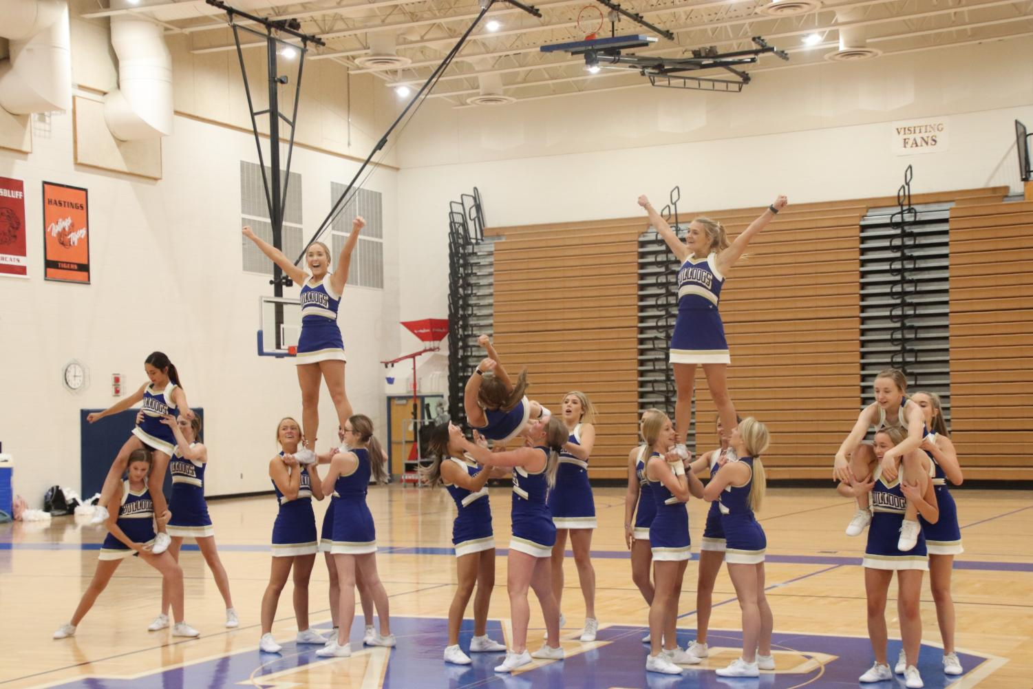 The+new+cheerleaders+performed+for+the+first+time+at+Friday%E2%80%99s+pep+rally.+Freshman+cheerleader+Avery+Bergeron+is+one+of+the+new+cheerleaders%2C+%E2%80%9CIt%E2%80%99s+like+our+first+time+in+front+of+a+big+crowd%2C+so+we+were+nervous%2C%E2%80%9D+Bergeron+said%2C+%E2%80%9CIt+went+great%2C+I+could+do+it+again%2C+I%E2%80%99m+excited+to+perform+again.%E2%80%9D