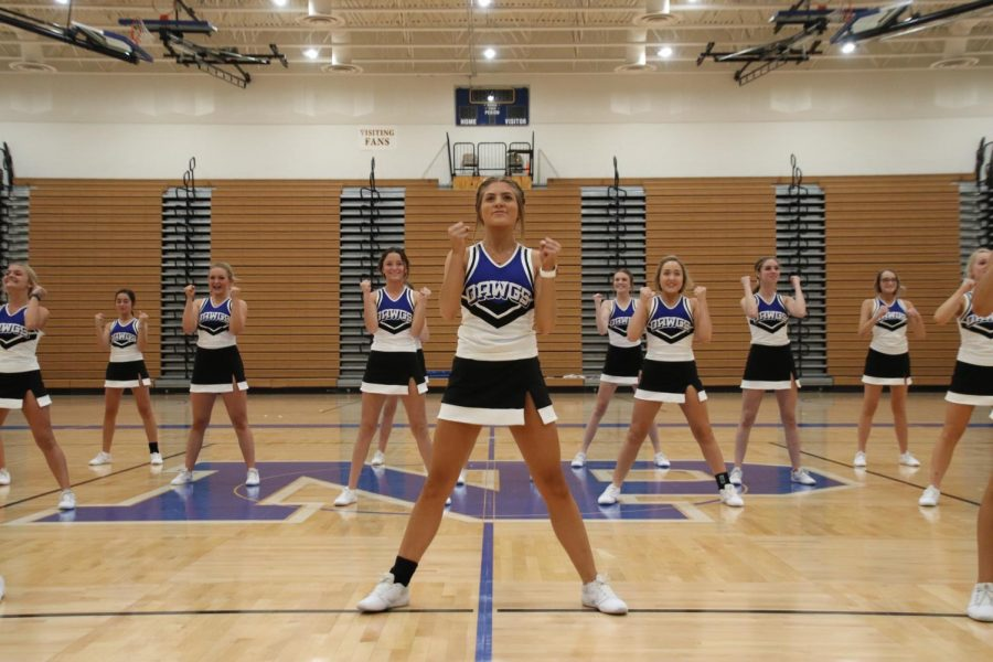 NPHS cheer team performs during the pep rally.