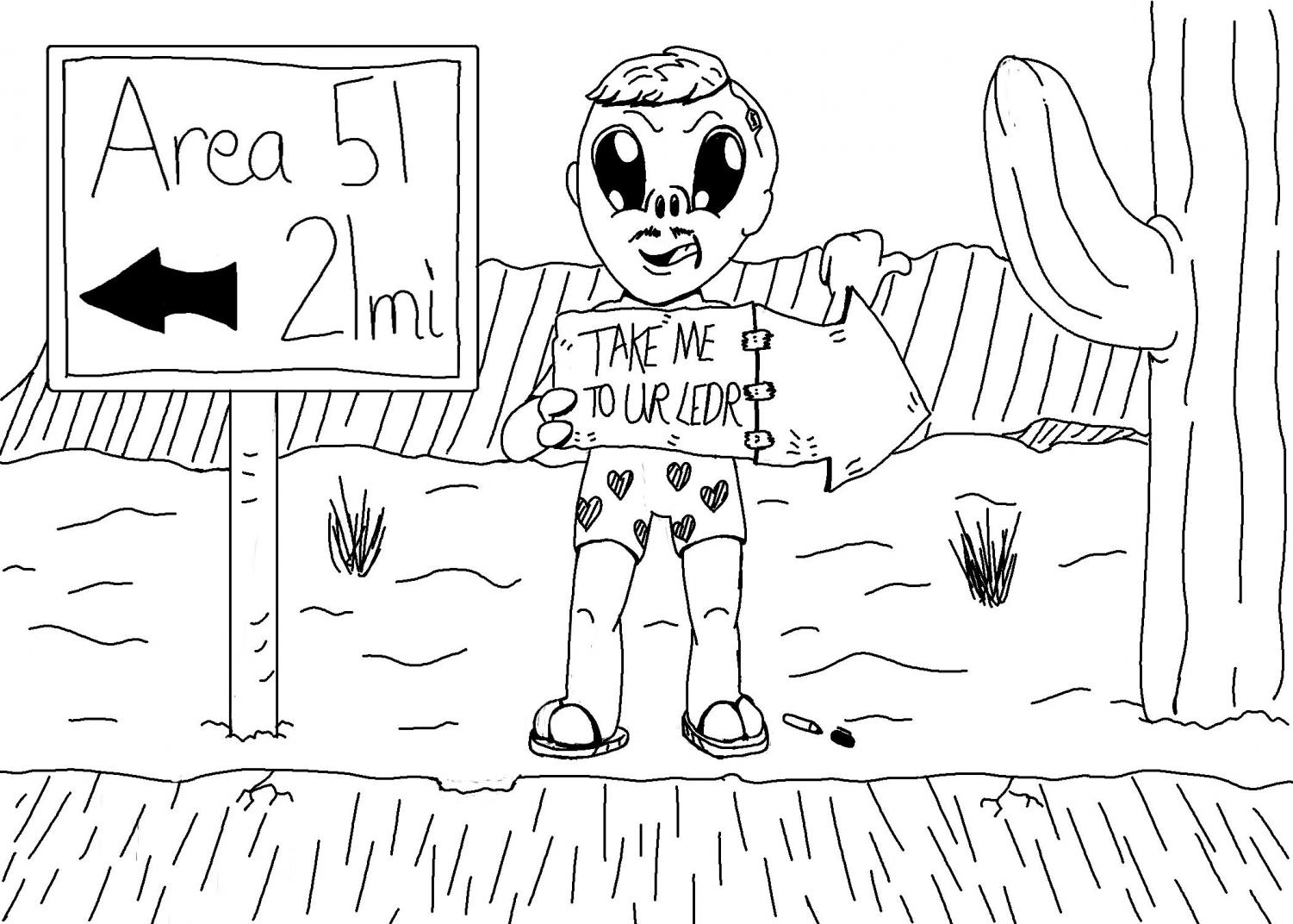 Drawing of a pictured alien in a disguise hitchhiking close to Area 51.