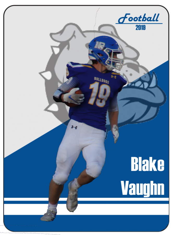 Junior Blake Vaughn turns to meet his teammates after scoring in their game versus Fremont on September 13. Vaughn has punched in ten rushing touchdowns on the season.