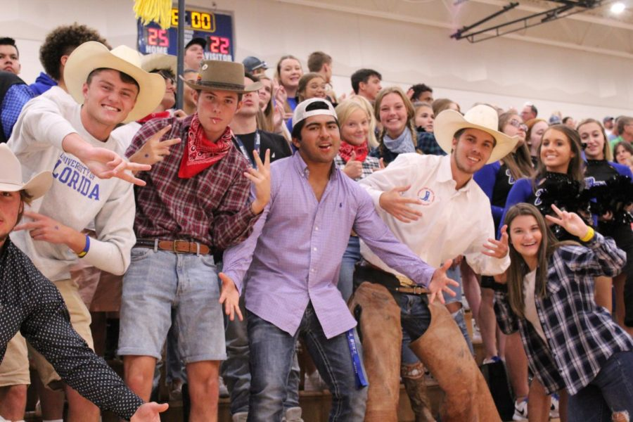 The student section poses for a picture on Sep. 17 The theme was western.