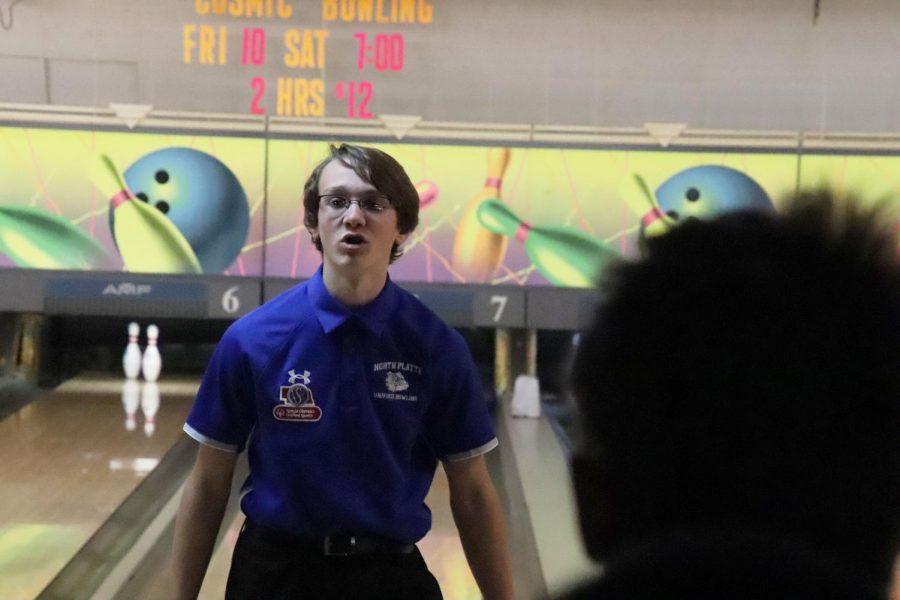 Aaron Franz walks away after his turn in the Unified Bowling meet in Gerring