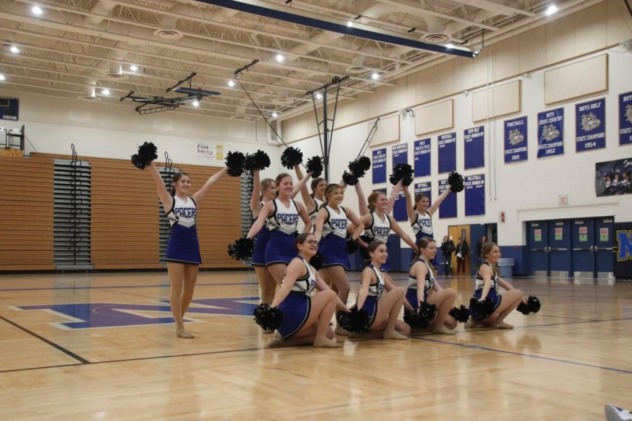 The Pacer Dance Team preformed their state Pom routine at NPHS' winter sports' state send-off. They have taken many hours out of their morning and weekends to learn and practice both of their routines.