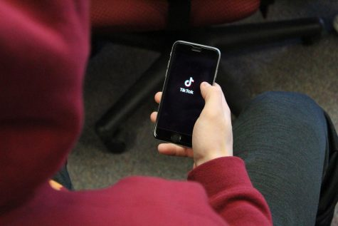 A student using Tik Tok. A popular social media app that students at NPHS have been using.