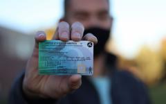 NPHS senior David Sack shows off his student pilots license.