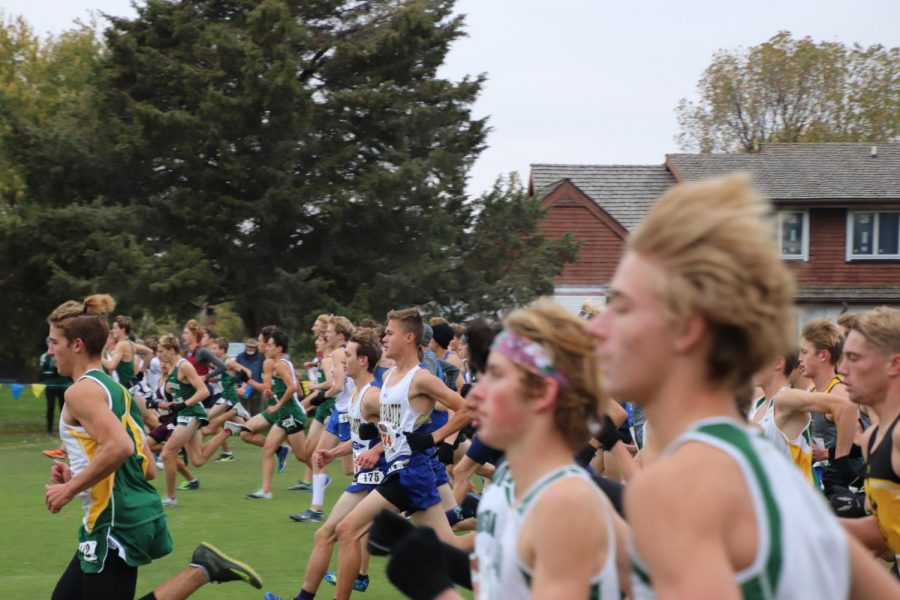 Senior+Aaron+Franz+and+Junior+Evan+Caudy+%28middle%29+begin+their+final+race+of+the+season+at+the+boys%E2%80%99+Class+A+state+competition+on+Oct.+23+in+Kearney.+Throughout+the+season%2C+runners+worried+that+the+season+could+be+cancelled+at+any+time.+%E2%80%9CThere+were+a+lot+of+uncertainties+this+year+with+COVID%2C+%E2%80%9C+said+coach+Jake+Hasenauer.+%E2%80%9CWe+just+didn%27t+know+what+was+gonna+happen.%27%27+Caption+credits+to+Alex+Cook.+