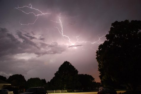 Lightning flashes across the sky during a storm over North Platte, NE.